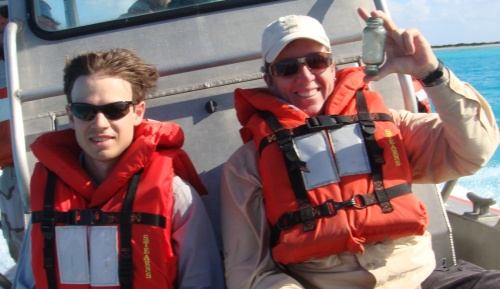 David and I coming back from Eastern Island during Nest Count 2009/2010